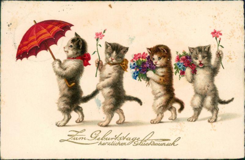 Geburtstag - 4 Katzen gehend mit Regenschirm und Blumen in der Pfote 1933