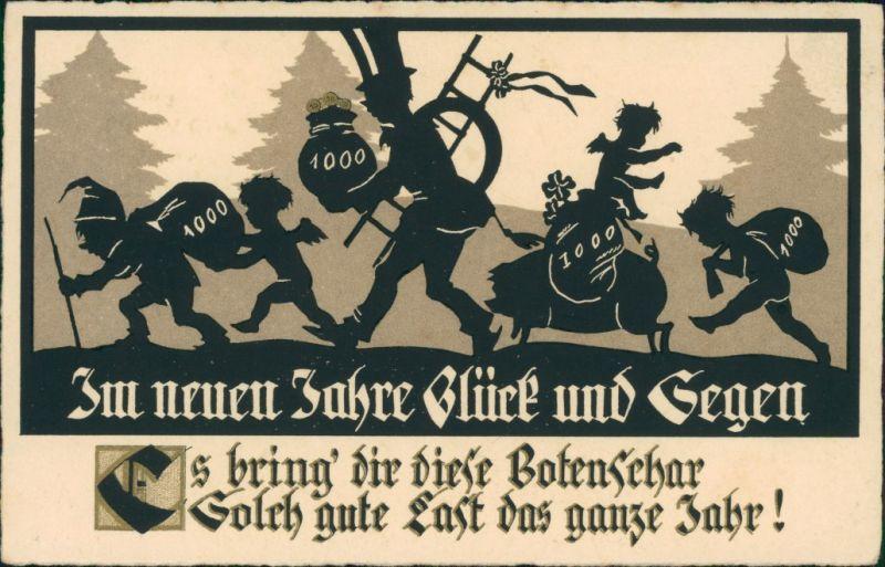 Neujahr: Glücksschwein, Engel, Schornsteinfeger, Zwerg  1941 Goldrand