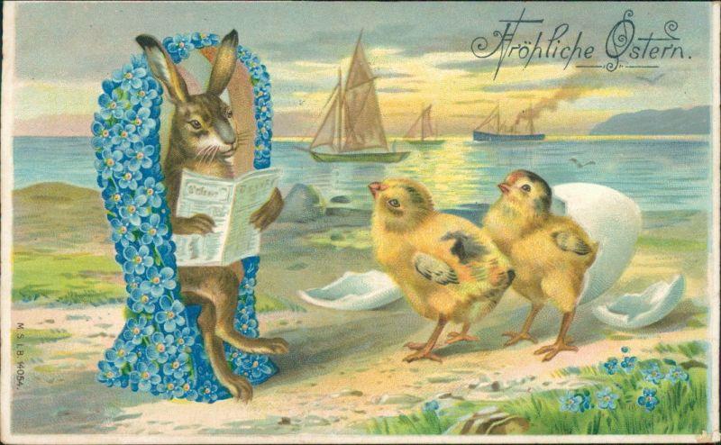 Ostern - Hase und Küken am Strand, zerbrochenes Ei 1909 Prägekarte