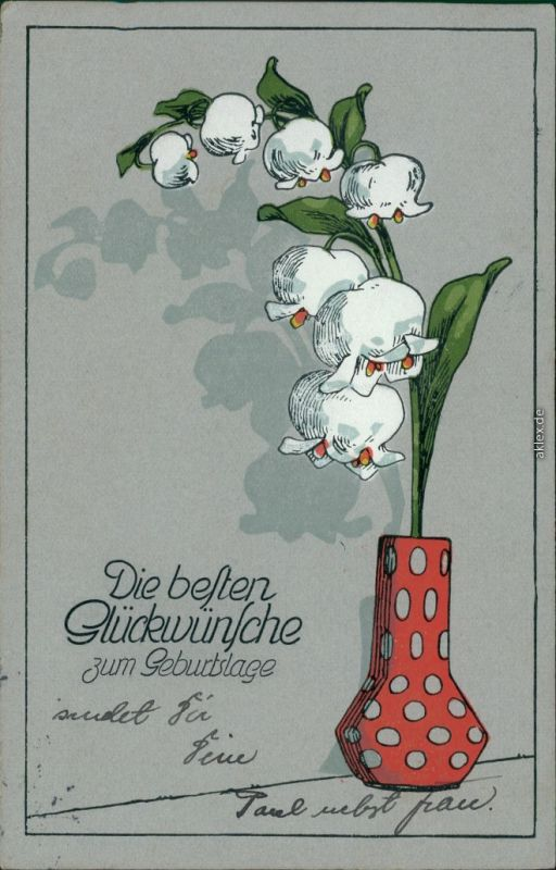 Glückwunsch/Grußkarten: Geburtstag - Maiglöckchen   gepunkteten Vase 1915