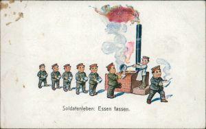 Humor - Soldatenleben: Essen fassen - Soldaten stehen Essensausgabe an 1917