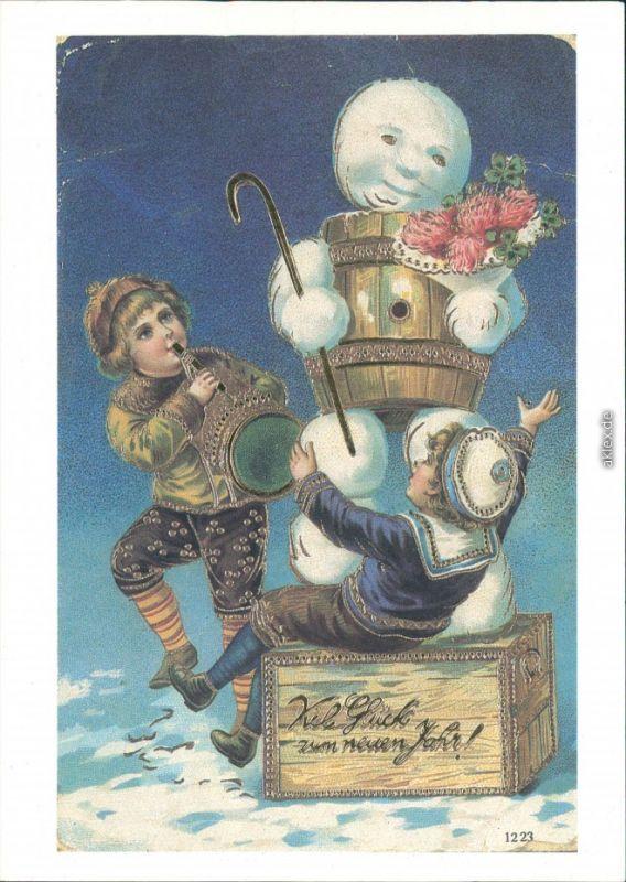 Historische Glückwunschkarte - Schneemann und Kinder 1900/1989 Goldrand