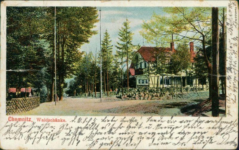 Ansichtskarte Chemnitz Straßenpartie an der Waldschänke 1905