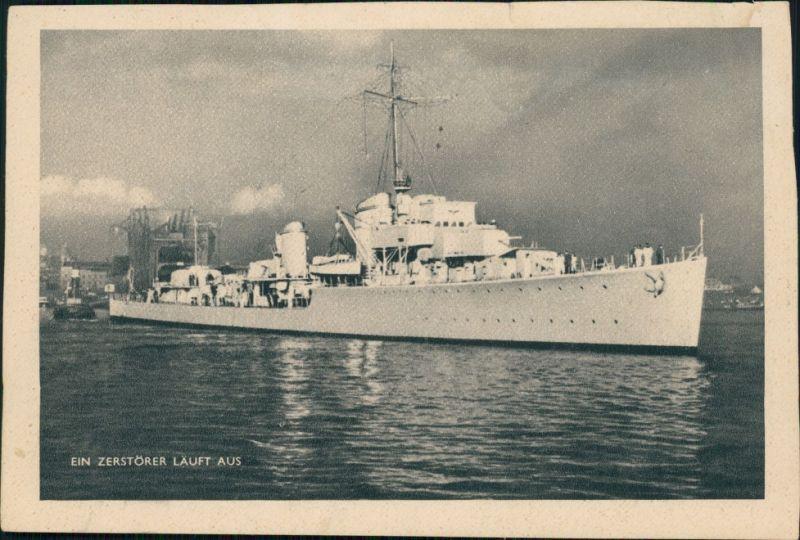 Ansichtskarte  Kriegsschiffe (Marine) - ein Zerstörer läuft aus 1943
