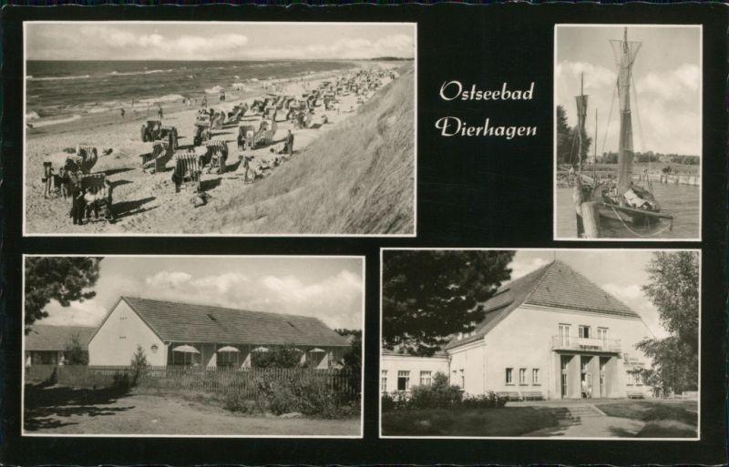 Ansichtskarte Dierhagen Strand, Strandkörbe, Segelboot, Feriensiedlung 1965