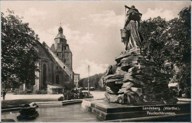 Postcard Landsberg (Warthe) Gorzów Wielkopolski Pauckschbrunnen 1932