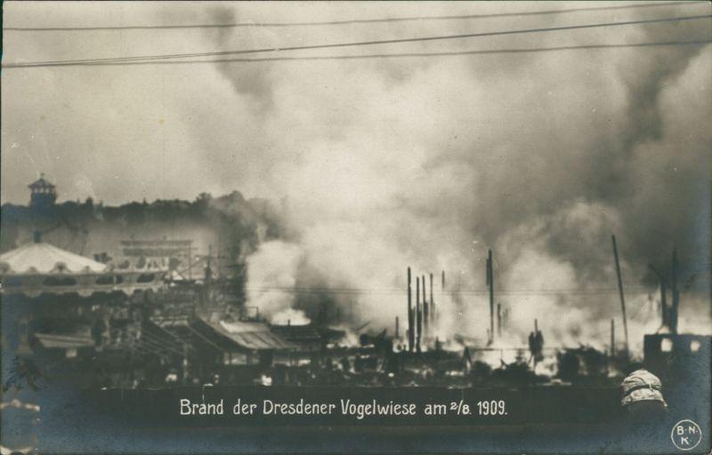 Johannstadt-Dresden Brand der Dresdener Vogelwiese - Fotokarte 1909