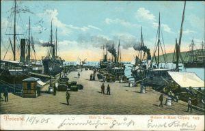 Cartoline Triest Trieste Hafen - Molo S. Carlo 1905