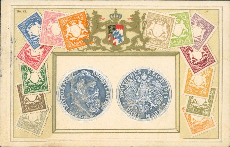 Bayern  Münzen und Briefmarken Bayern Briefmarken-Ansichtskarte 1913 Prägekarte