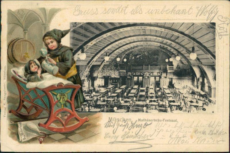 München Oktoberfest - Kindl - Mathäserbräu Festsaal 1906 Prägekarte