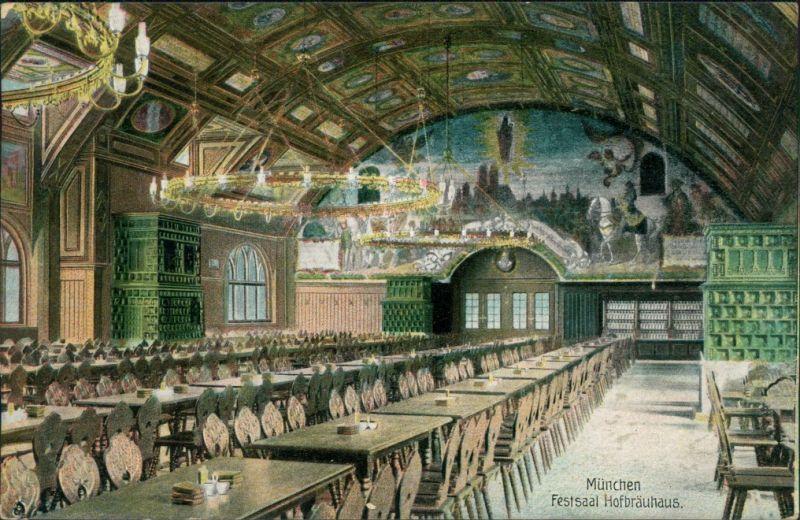 Ansichtskarte München Festaal - Hofbräuhaus 1908