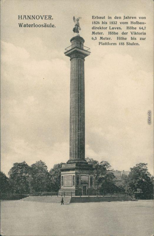 Ansichtskarte Hannover Partie an der Waterloo-Säule 1909