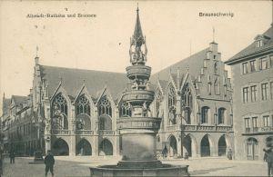 Ansichtskarte Braunschweig Altstadt Rathaus und Brunnen 1912
