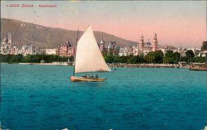 Ansichtskarte Zürich Alpenquai, Segelboot 1914