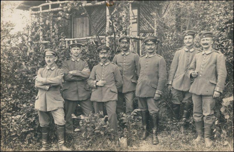 Soldaten vor Baumverschlag - Hütte - Privatfoto Ak 1916 Privatfoto