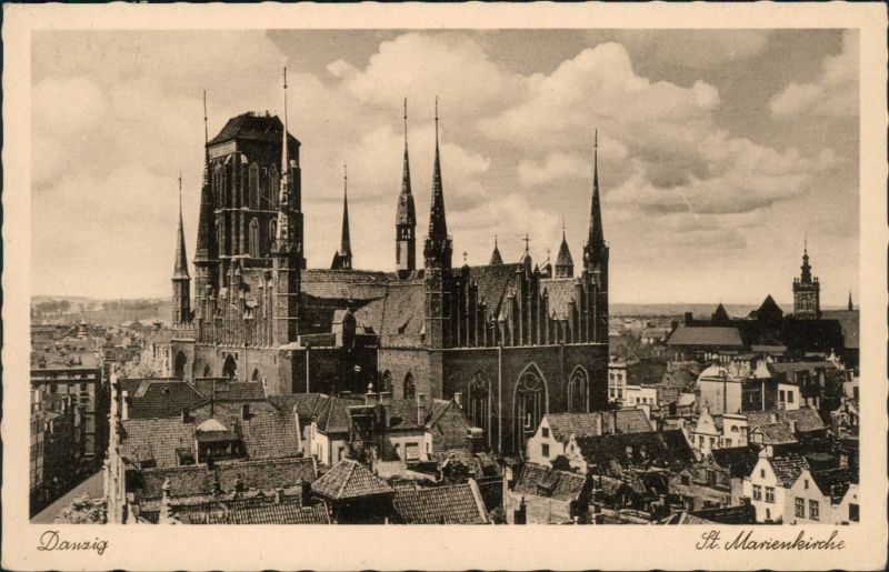 Postcard Danzig Gdańsk/Gduńsk Blick über die Stadt 1941