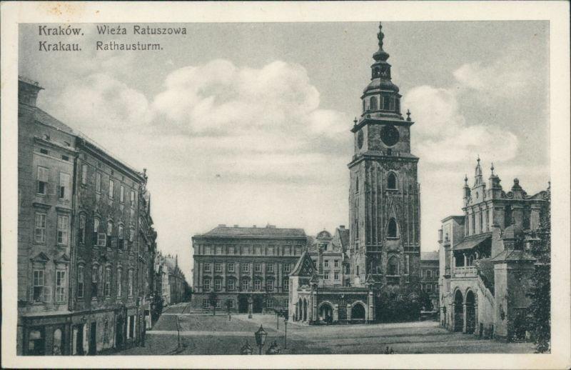 Postcard Krakau Kraków Straßenpartie, Rathausturm 1922