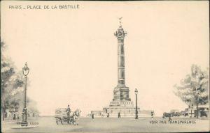CPA Paris Künstlerkarte Place de la Bastille 1930