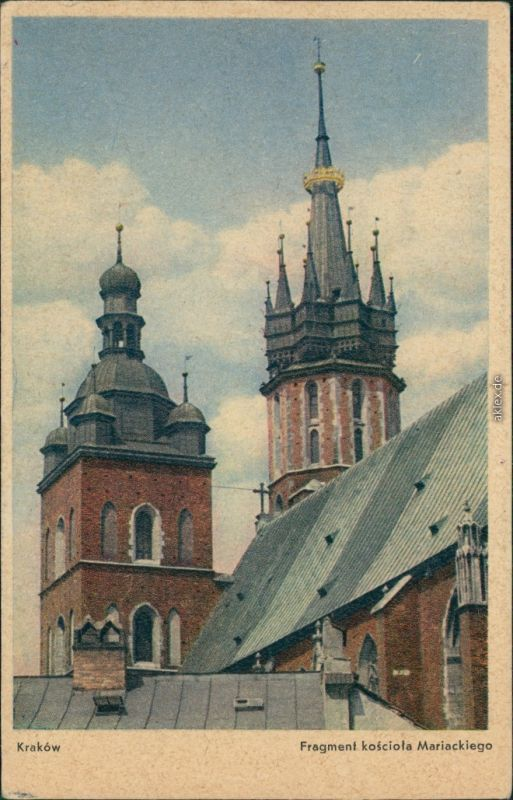 Postcard Krakau Kraków Fragment Marienkirche 1929