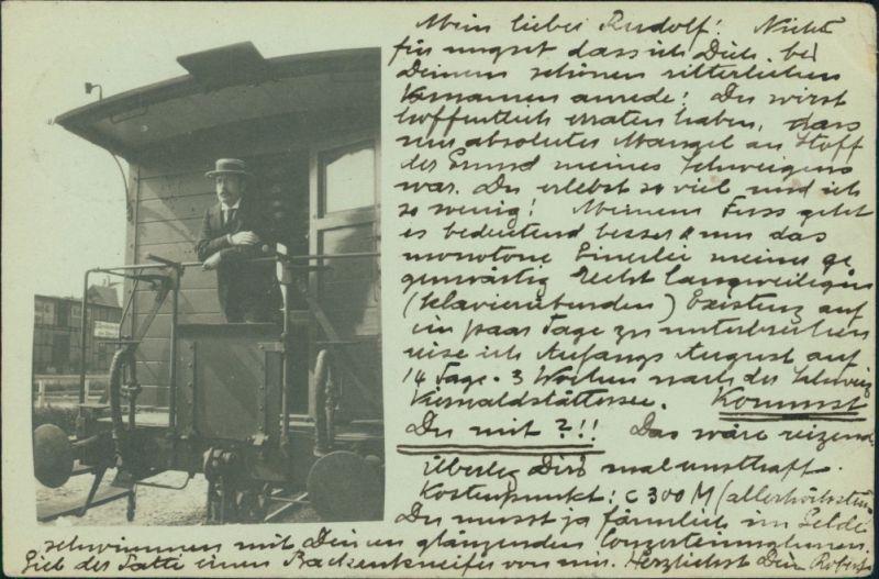 Ansichtskarte  Privatfoto - Mann auf dem letzten Wagon - Bahnhof 1899