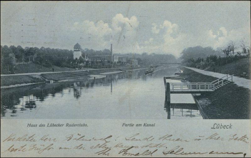 Lübeck Mondscheinlitho - Kanal Haus des Lübecker Ruderclubs 1911