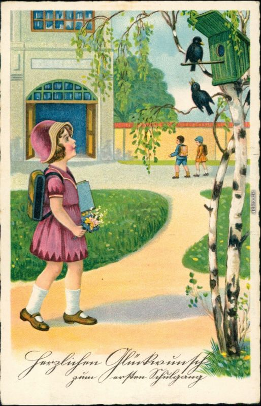 Ansichtskarte  Kind vor der Schule - Birke - Geburtstag 1929