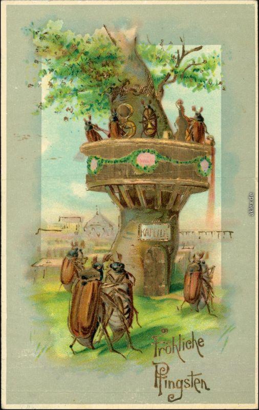 Ansichtskarte  Goldrand-Künstlerkarte Pfingskäfer 1913 Goldrand