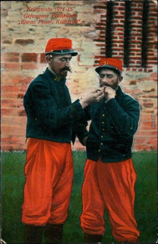 Ansichtskarte  Kriegsgefangene Franzosen - WK1 1916