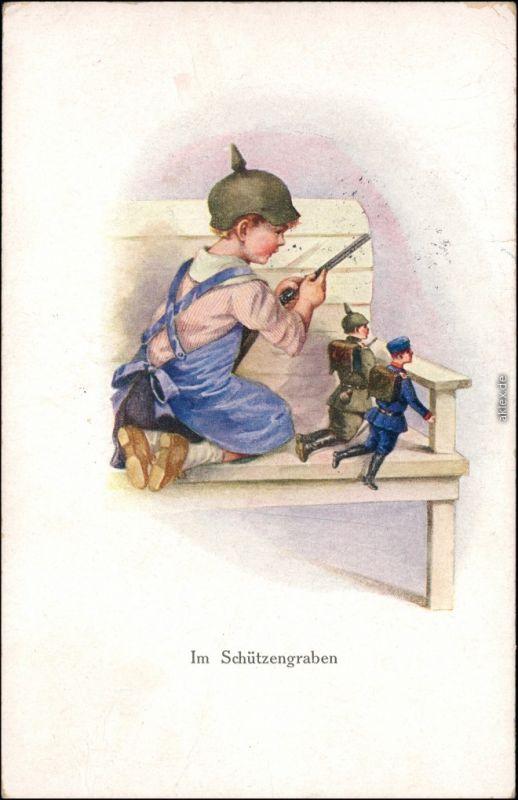 Ansichtskarte  KInd als Soldat - Künstlerkarte - Schützengraben 1915