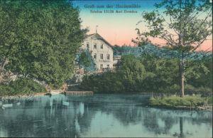 Ansichtskarte Langebrück-Dresden Gasthaus Haidemühle am See 1906