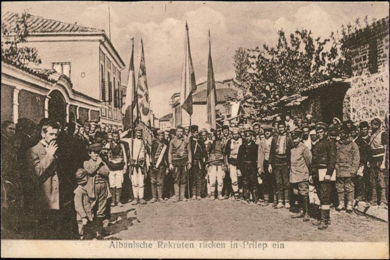 Prilep Părleap (Прилеп/Πριλέπια) Albanische Rekruten - Straße 1918  0