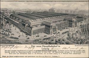 Ansichtskarte Leipzig Künstlerkarte der Hauptbahnhof 1914
