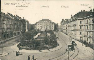 Ansichtskarte Wien Währingerstrasse, Aumannhof Gontzgasse Straßenbahn 1924