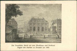 Innere Neustadt-Dresden Neustädter Markt mit dem Blockhaus  1800/1960