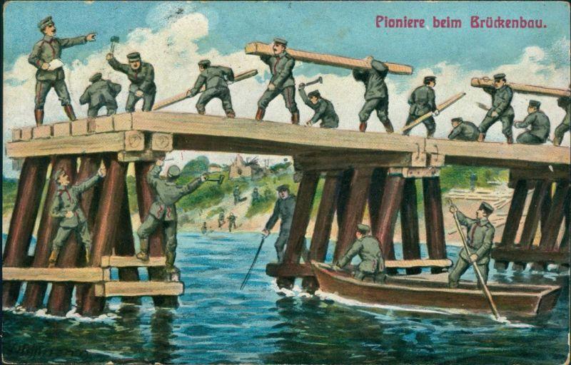 Ansichtskarte  Künstlerkarte - Pioniere beim Brückenbau 1. WK 1915