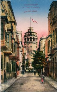 Istanbul Konstantinopel | Constantinople Straßen - La Tour de Galata 1915