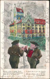 Ansichtskarte Maxvorstadt-München Scherzkarten Neues Justizgebäude 1900