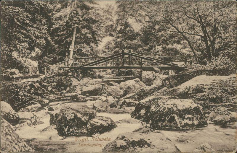 Ansichtskarte Jocketa-Pöhl Vogtländische Schweiz Loreleysteg 1916