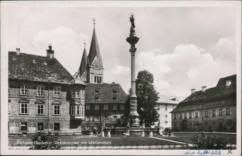Ansichtskarte Eichstätt Residenzplatz mit Mariensäule 1935