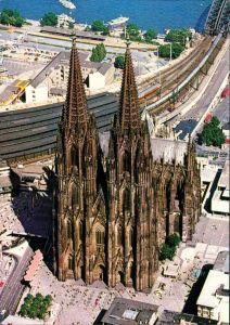 Ansichtskarte Köln Luftbild - Kölner Dom und Rheinufer 1994