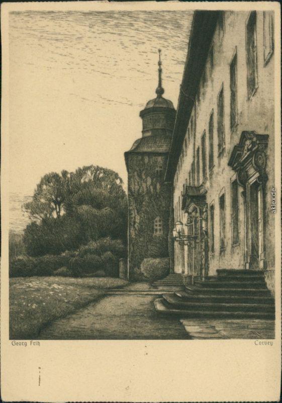 Ansichtskarte Höxter (Weser) Künstlerkarte Corvey - Eduscho Werbung 1932