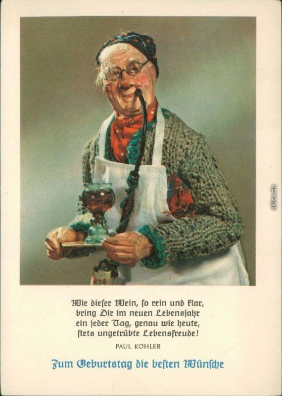 Ansichtskarte Opa Mit Pfeife Geburtstag 1960 Nr 124689 Oldthing