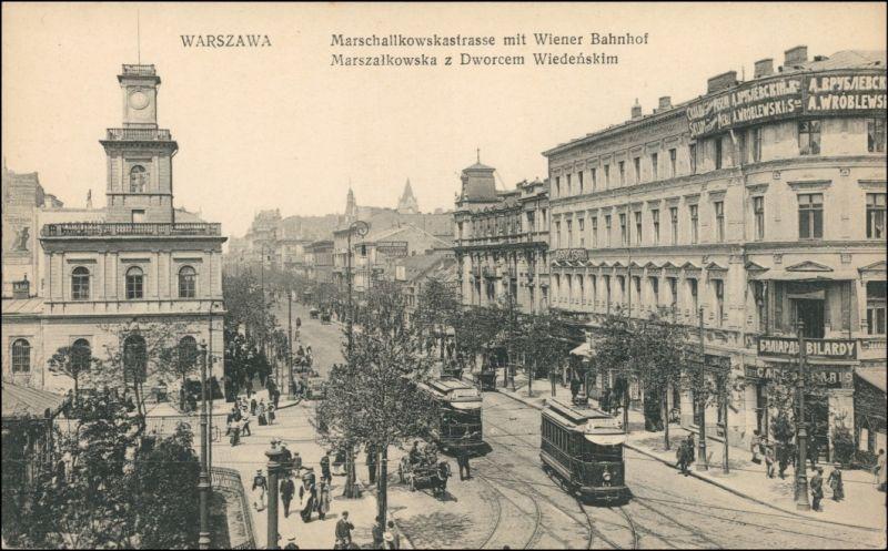 Warschau Warszawa Straßenbahn Straße (Ulica) Marszalkowska Wiener Bahnhof 1915