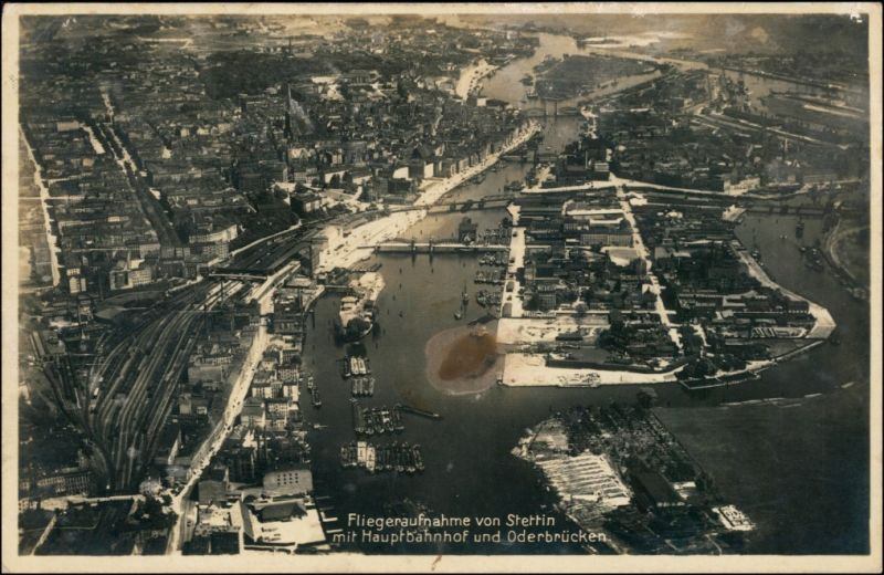 Postcard Stettin Szczecin Luftbild - Hauptbahnhof u. Oderbrücken 1928