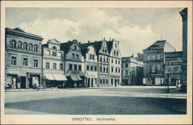 Postcard Sprottau Szprotawa Marktseite - Geschäfte 1923
