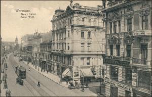 Postcard Warschau Warszawa Geschäfte - Straße - Neue Welt 1912