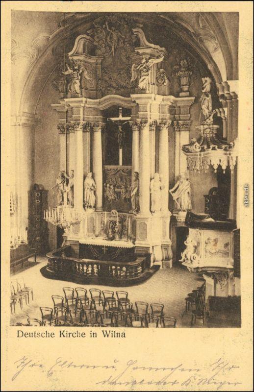 Postcard Wilna Vilnius Innenansicht - Deutsche Kirche 1915