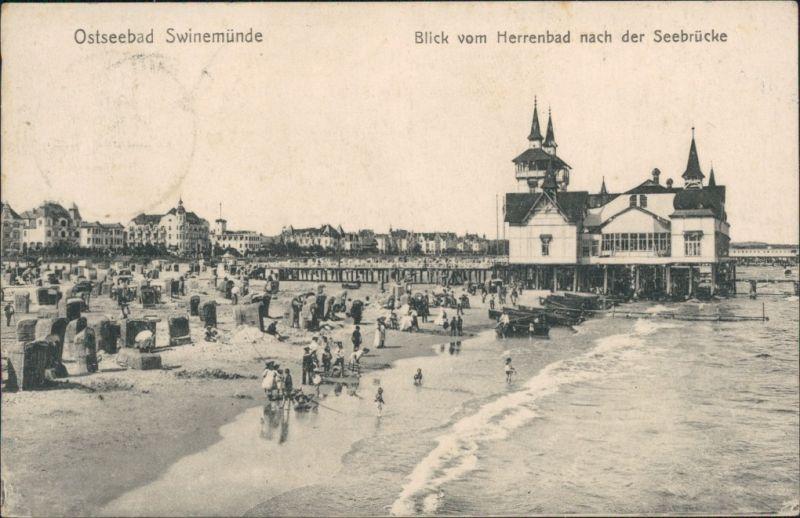 Swinemünde Świnoujście Blick vom Herrenbad auf die Seebrücke 1917