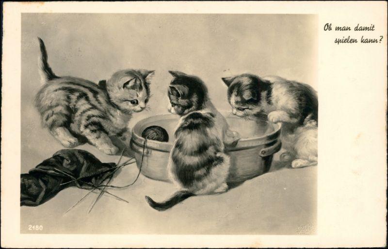 Ansichtskarte  Kätzchen spielen mit Wollkneul 1939