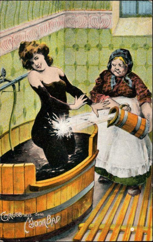 Ansichtskarte  Gruss aus dem Moorbad Frau wird vom Schlamm gereinigt 1908